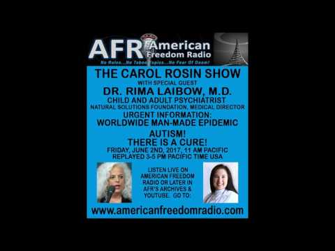 AUTISM & ALZHEIMER'S: MAN MADE EPIDEMICS WITH A CURE!  DR RIMA LAIBOW ON CAROL ROSIN SHOW 6-2-17