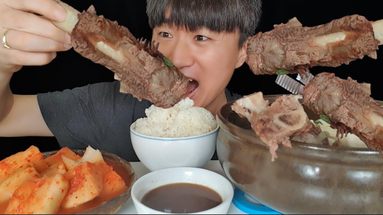 뚝배기 왕갈비탕 먹방 (feat.석박지) 당면 가득 먹고 밥까지 말아 먹기 Galbitang mukbang beef rip soup realsound