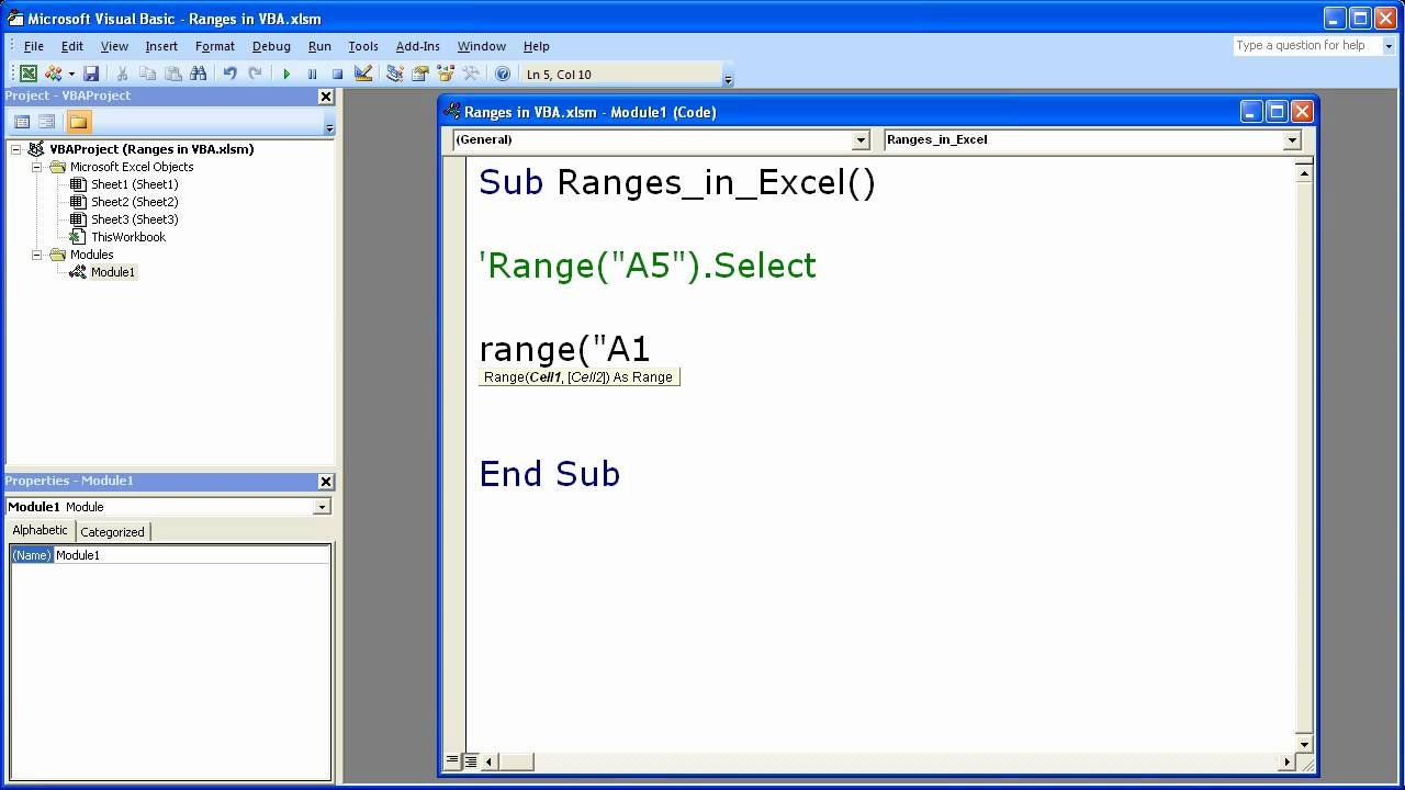 excel macro vba tip 2 using the range property to select cells in excel