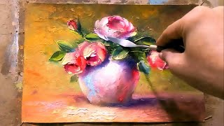 Oil Painting a ٍSimple Still Life Roses By yasser fayad  ياسر فياض