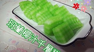 How To Make Coconut Milk & Pandan Cake(斑蘭椰汁千層糕)~ funfunyin Cooking 19