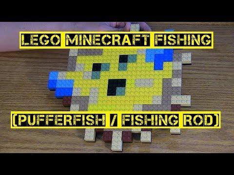 LEGO Minecraft Fishing ( pufferfish / fishing rod) - YouTube