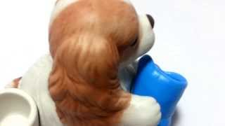 Cavalier King Charles Spaniel Puppy Holding A Blue Boot Figurine Candle Holder