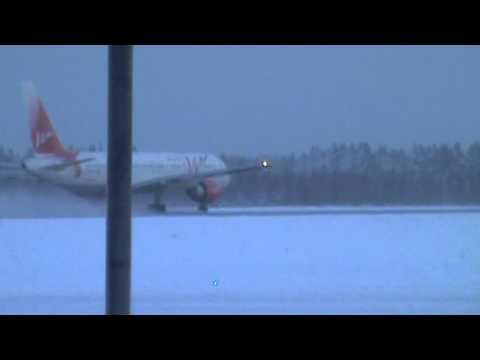 VIM airlines Boeing 757 200 takeoff in Kajaani