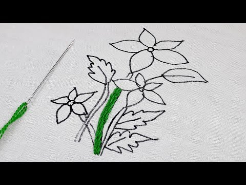 Decorative flower embroidery design || Hand embroidery easy flower design tutorial thumbnail