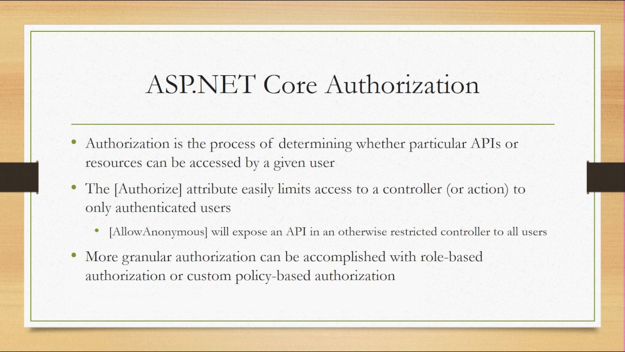 ASP NET Core Authentication and Authorization