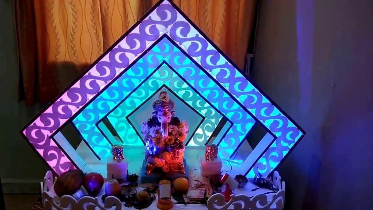 Home Ganpati Decoration 2017 , Pentagon Dancing Light