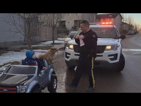 Police Officer Pulls Over 3-Year-Old Speeding In Toy Convertible