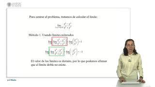 Cálculo de límites de funciones de dos variables: límites reiterados, direccionales y cambio a | UPV