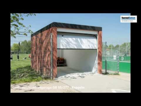 Hansebeton Fertiggarage als Geräteraum in Kappeln - YouTube