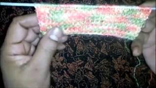 Colourful border design knitting