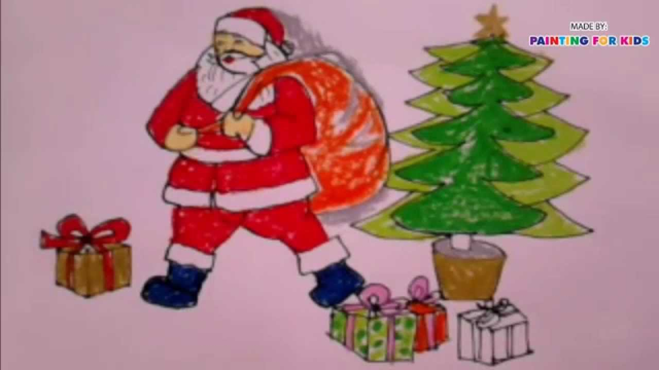 how to draw christmas how to draw santa claus for kids painting for kids art for kids youtube