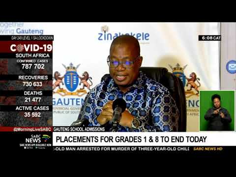 Gauteng school admission placements for Grades 1 and 8 to end today