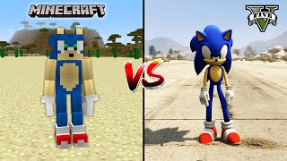 GTA 5 SONIC VS MINECRAFT SONIC - WHO IS BEST?