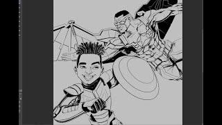 Falcão e o Soldado invernal | desenhando no Clip Studio Paint _ parte  2