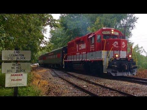 RJ Corman Railroad Dinner Train Switching In Rain At Midway College Ky During Fall Festival In Rain!