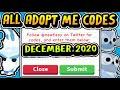 """ALL SECRET ADOPT ME CODES DECEMBER 2020!"" Money / Pet Codes Christmas / Winter Update 2020 (Roblox)"