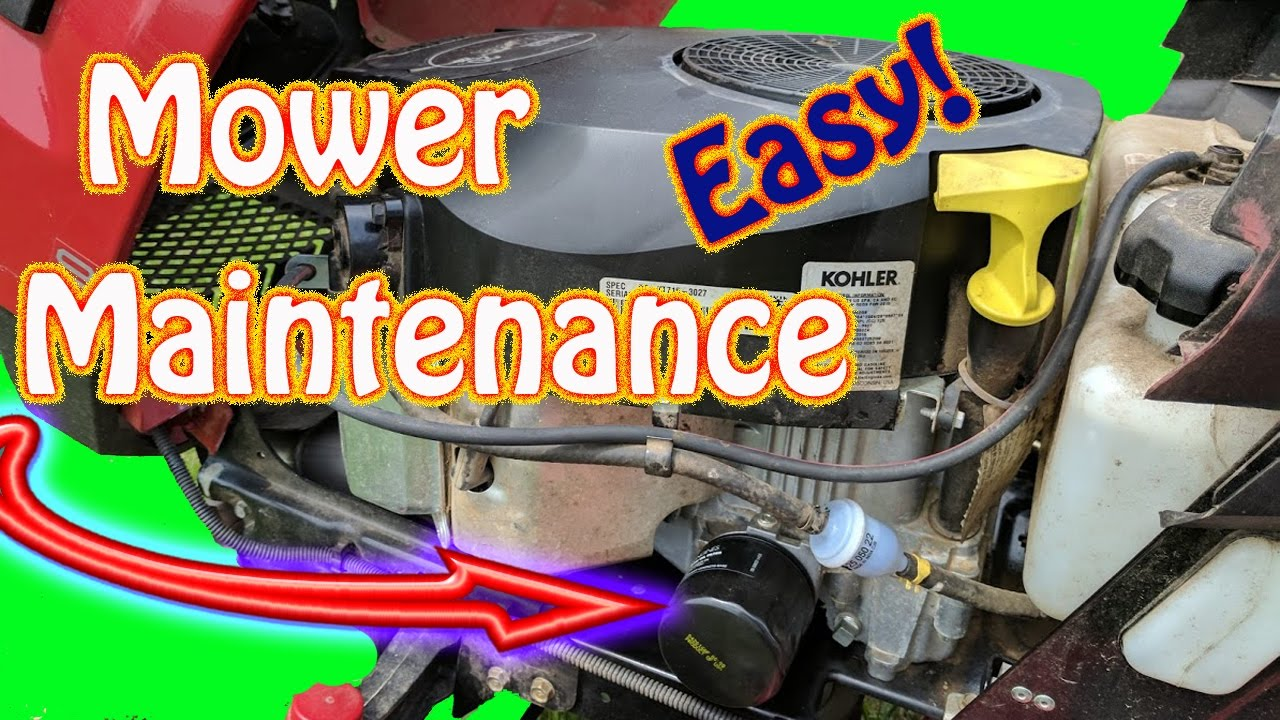 diy riding lawn mower maintenance routine kohler engine oil change air intake filter fuel filter [ 1280 x 720 Pixel ]