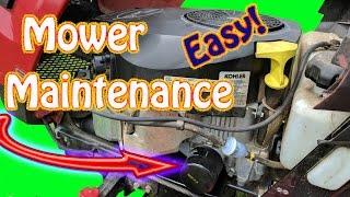 DIY Riding Lawn Mower Maintenance Routine Kohler Engine Oil Change, Air Intake Filter, Fuel Filter
