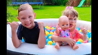 Arina Pretend Play with Baby Doll in swimming pool Video for children