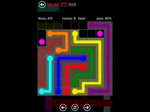 Flow Free - 9X9 Level 23 Mania Walkthrough