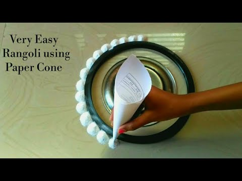 Easy and Beautiful Rangoli Using Paper Cone | Easy Rangoli Designs with Paper Cone For Beginners