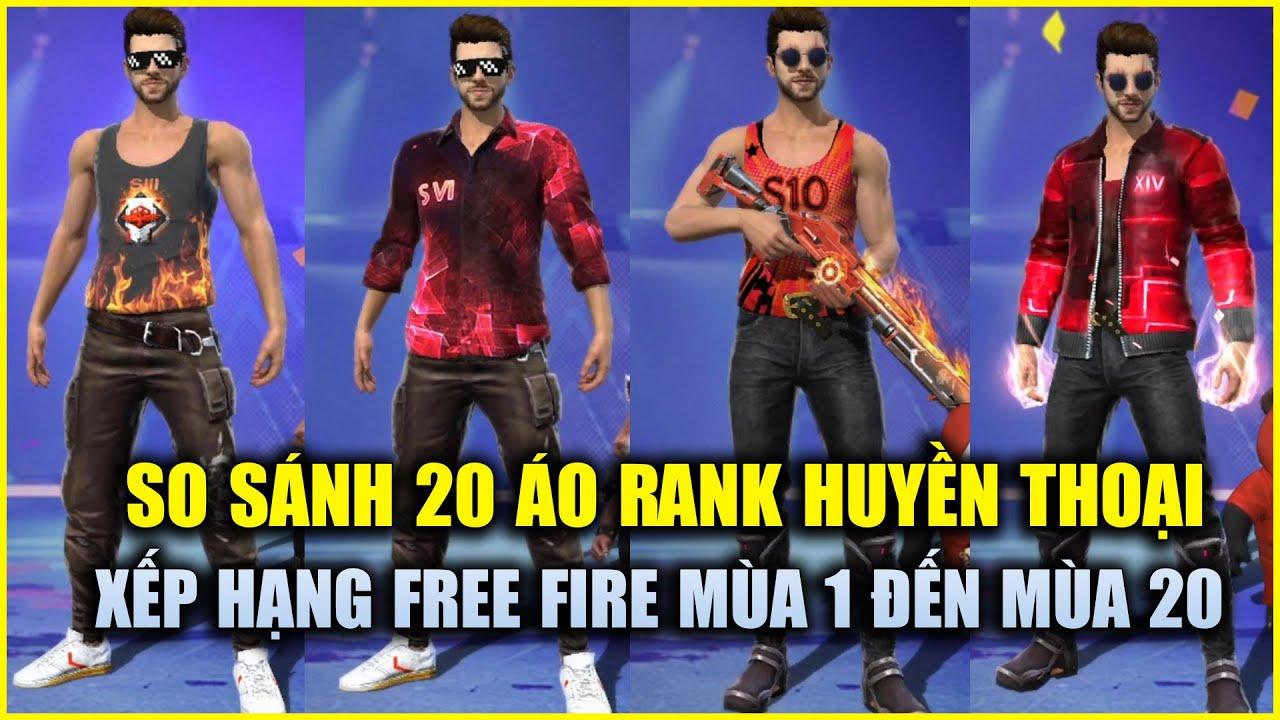 Free Fire | So Sánh 20 Áo Rank Huyền Thoại Free Fire Từ Mùa 1 Đến Mùa 20 | Rikaki Gaming