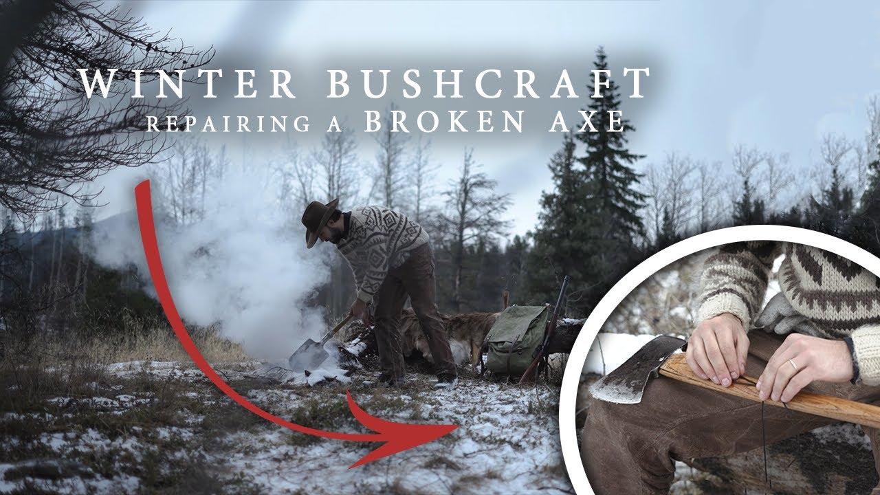 Winter Bushcraft - Fixing a Broken Axe, Flint & Steel Fire, Camp Cooking, Traditional Pioneer Gear