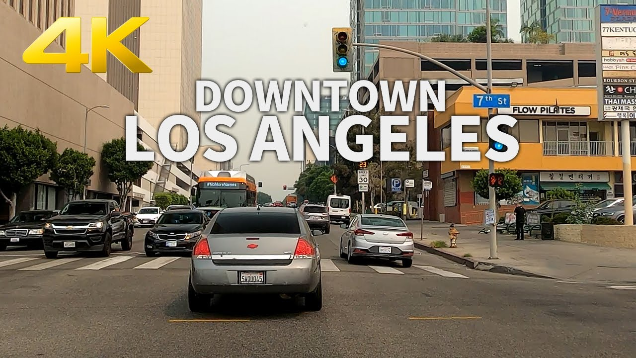 LOS ANGELES - Driving From USC to Griffith Observatory on Vermont Ave., California, USA, 4K UHD
