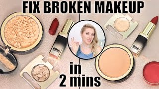 How to FIX broken makeup in 2 mins: eyeshadows, powder, lipstick! Life-changing makeup hack: