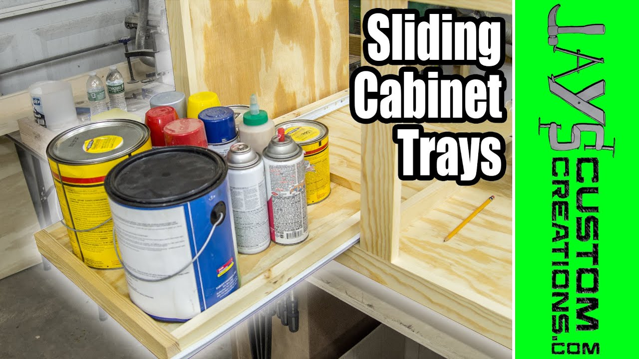 EASY DIY Slide Out Cabinet Trays   167   YouTube