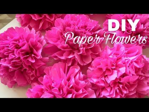 How to make Pom Pom crepe paper flowers craft | DIY crepe paper flowers ( Mass Crafts)