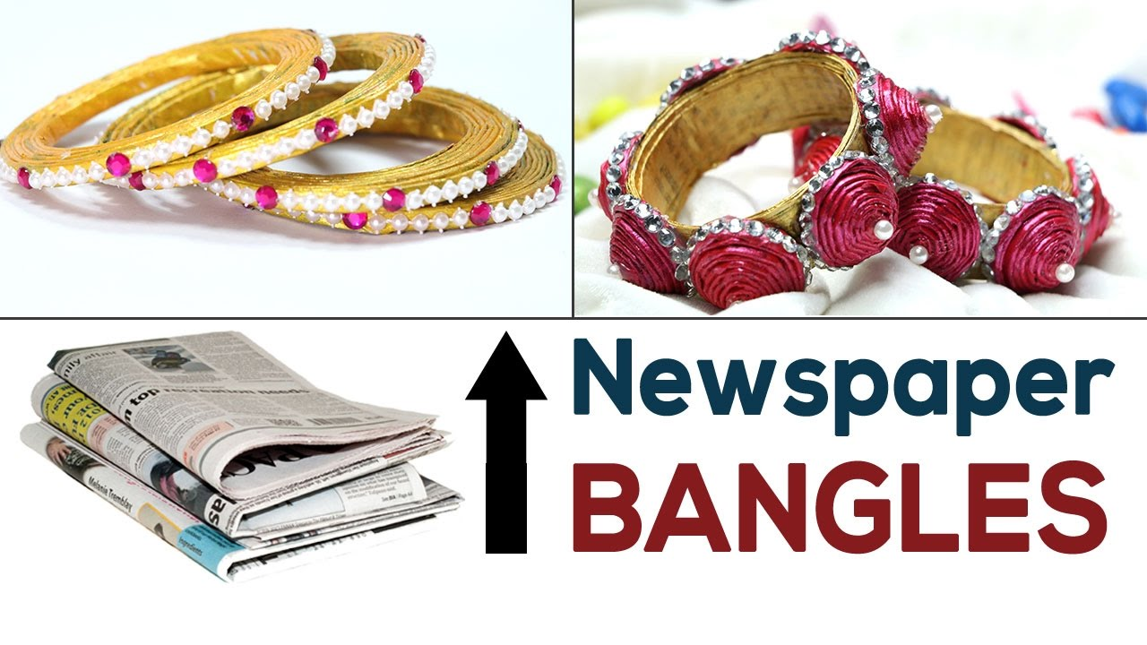 Diy jewelry best out of waste newspaper diy bangles for Best out of waste from newspaper video