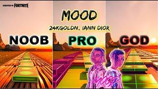 24kGoldn - MOOD - Noob vs Pro vs God (Fortnite Music Blocks) with map code!