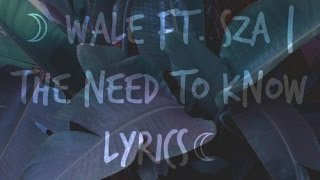 Wale ft. SZA | The Need To Know Lyrics