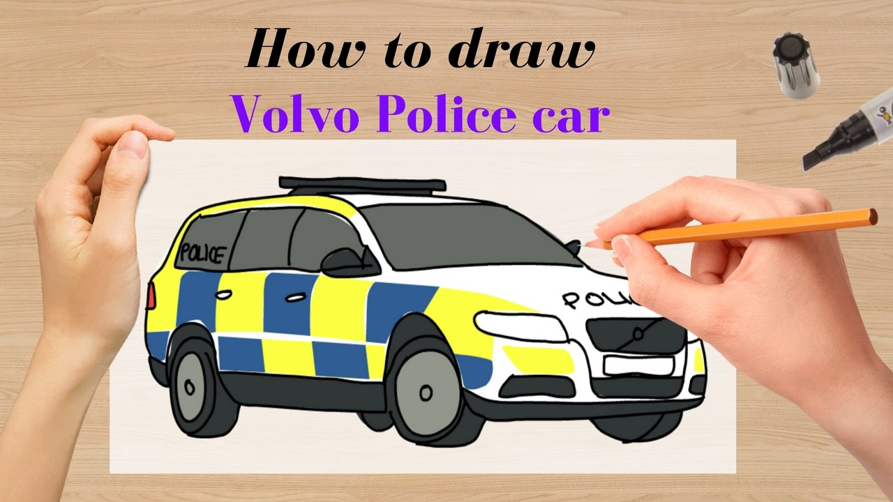 How to draw New Volvo Police Car - YouTube