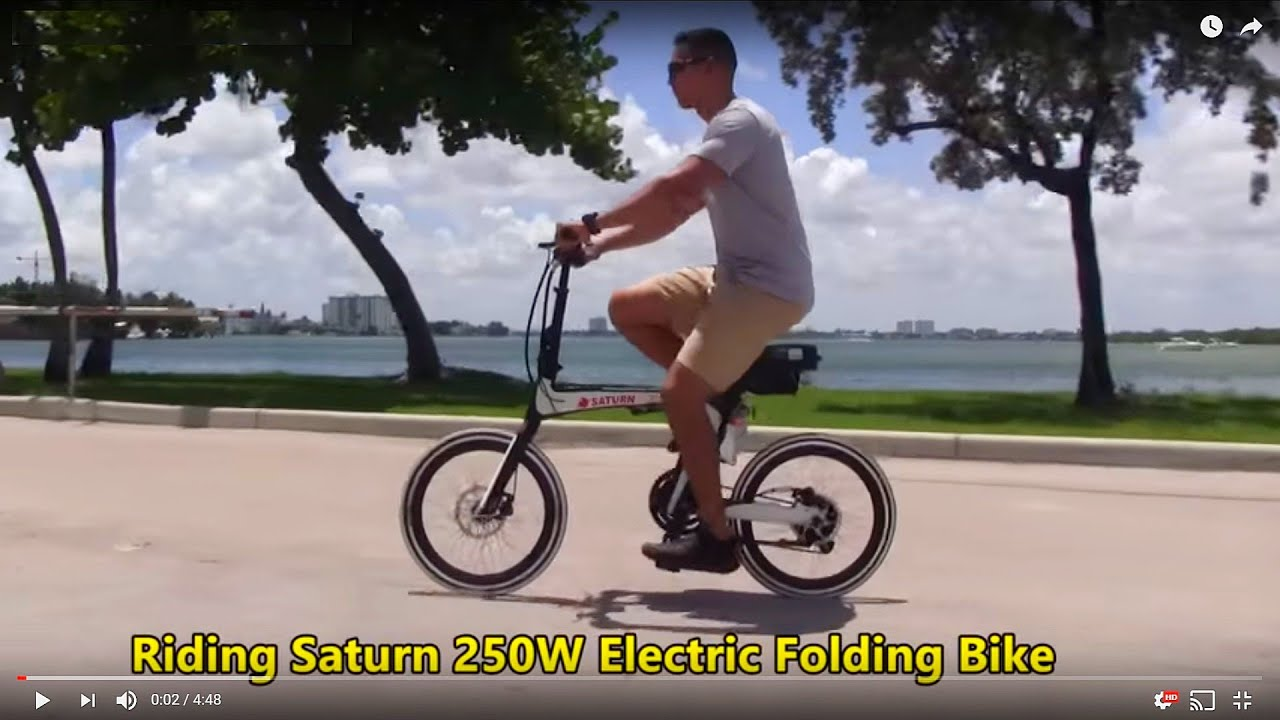 riding saturn electric folding bicycle youtube. Black Bedroom Furniture Sets. Home Design Ideas