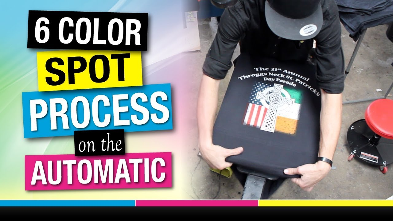 97b2bdd5 Screen Printing a 6 Color Spot Simulated Process Job on the Javelin  Automatic Press