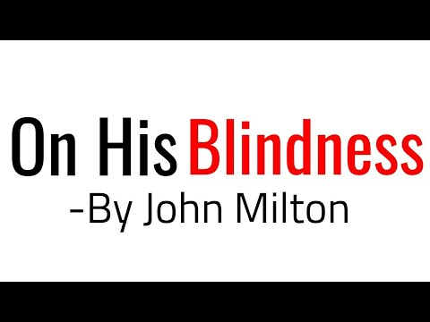 on his blindness by john milton explanation