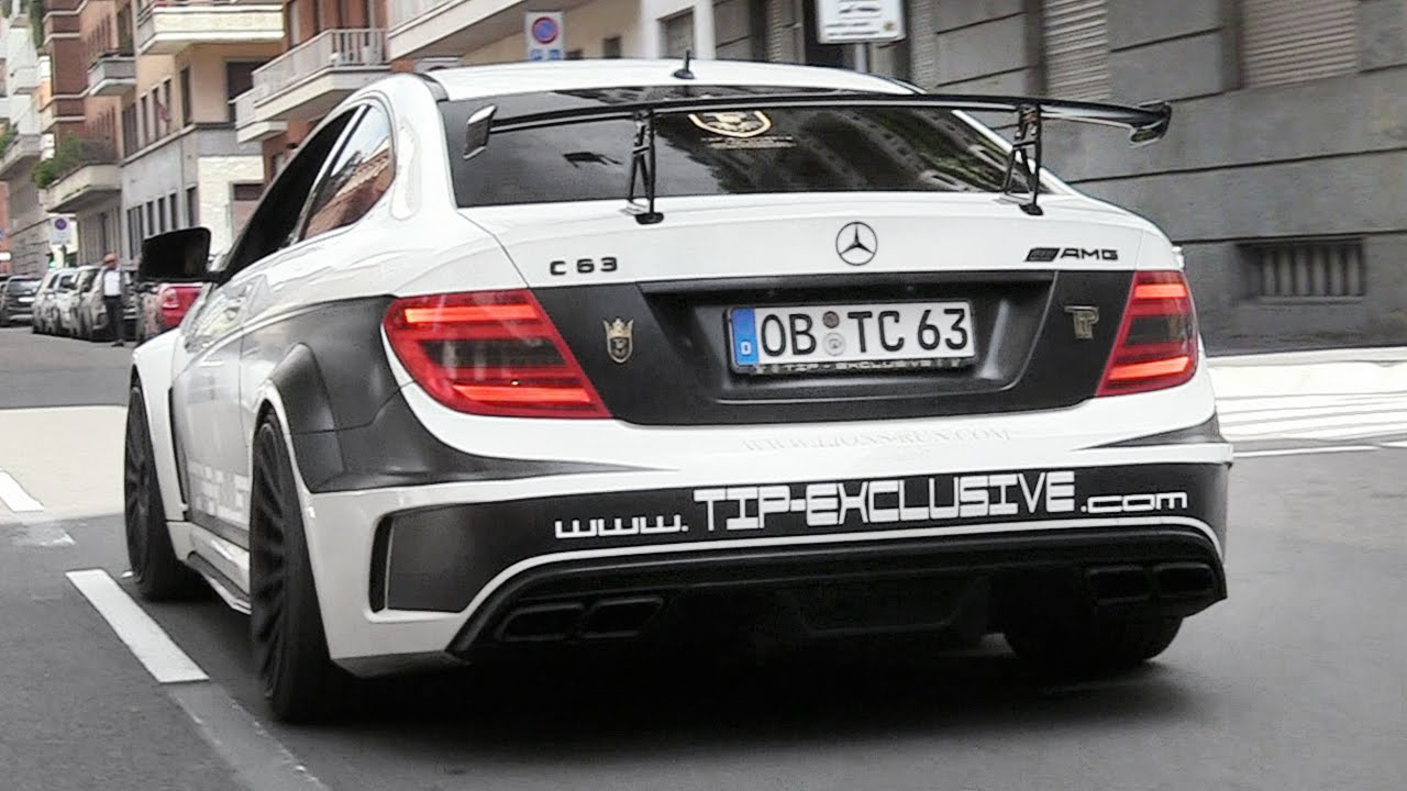 Mercedes c63 amg with loud custom exhaust v8 engine for Mercedes benz c63 engine