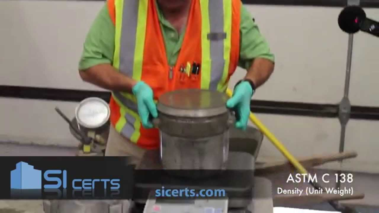 ASTM C138 - ACI Unit Weight of Concrete Test (Newer Version Available,  Click Top Right Corner)