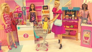 Barbie goes grocery shopping, Barbie needs help, Barbie morning school routine, Barbie fashionista