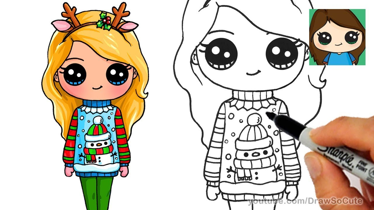 How to Draw a Cute Girl in Christmas Ugly Sweater - YouTube