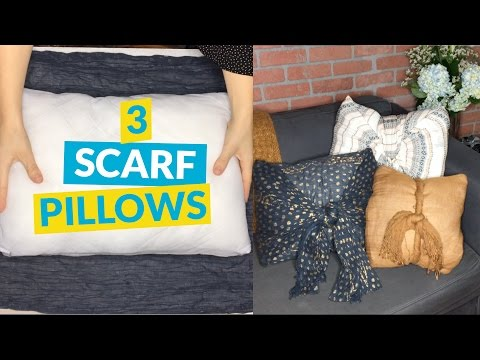 3 No Sew Scarf Pillows