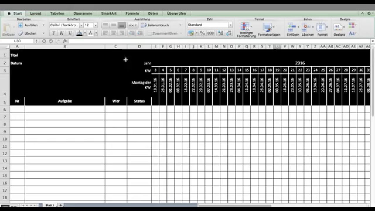 Tutorial Excel Template Oder Vorlage F U00fcr Timing