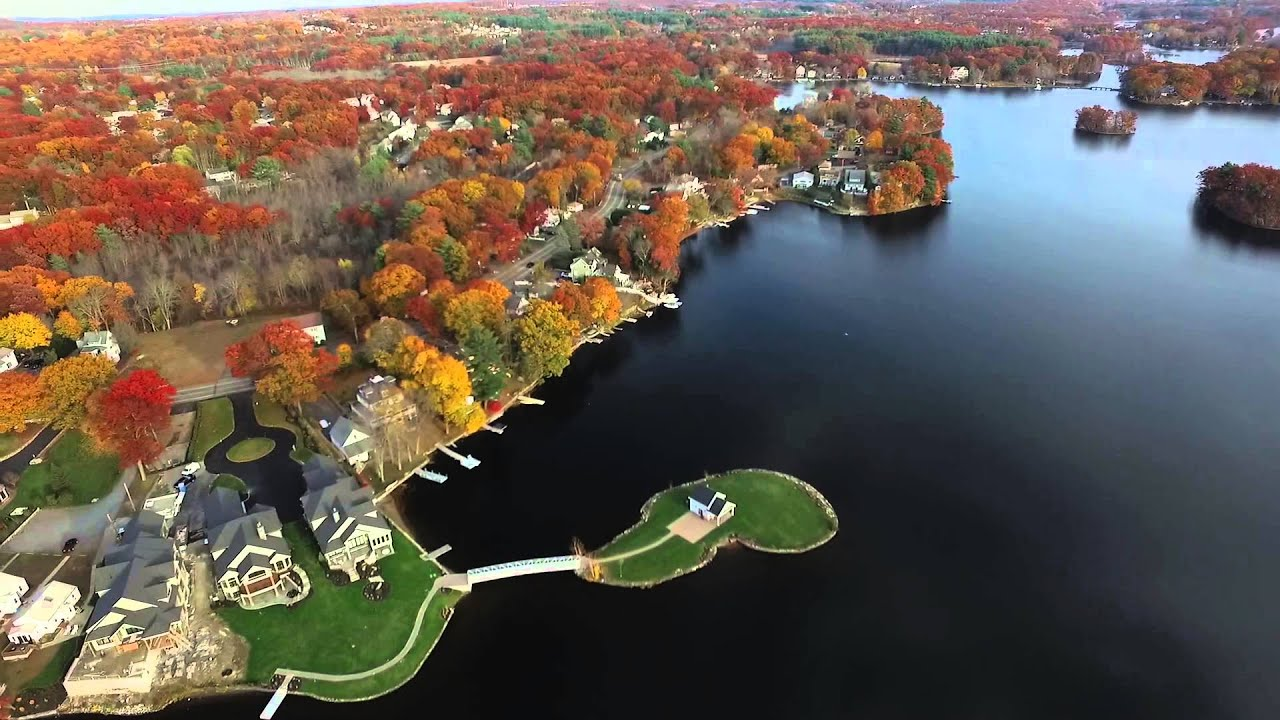 Lake Quinsigamond In Shrewsbury MA Drone Footage Full Flight