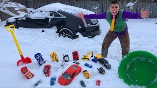 Janitor Mr. Joe found Toy Cars Lamborghini under Snow & Started Race on Cadillac CTS-V for Kids