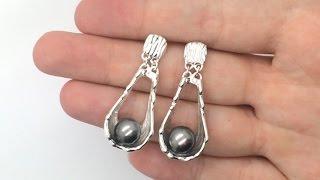 Tahitian black pearl earrings: sterling silver dangle earrings, water wave earrings