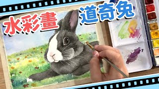 【DS美術-4】畫兔子了!水彩畫黑白道奇兔