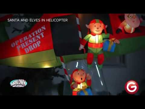 Santa And Elves In Helicopter Animated Airblown Inflatable Youtube